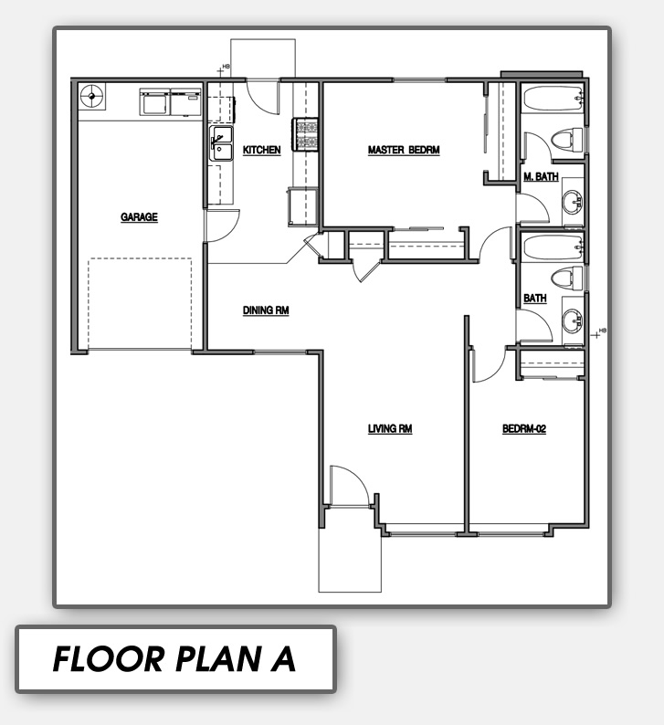 Floor Plan A Is Comfortable Two Bedroom Unit Featuring Separate Master Bathroom And Large Living Room