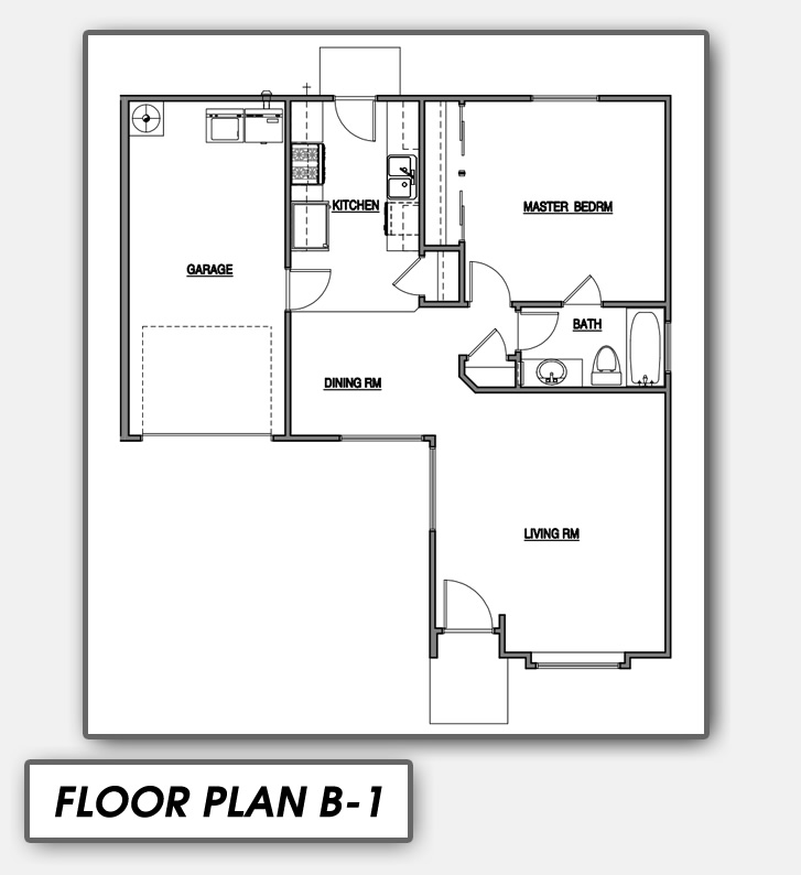 a comfortable one bedroom floor plan b1 has a large master bedroom with an open living and dining area - Large Living Room House Plans